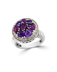 Effy | Metallic Amethyst, Rhodolite, Sterling Silver And 18k Yellow Gold Ring | Lyst