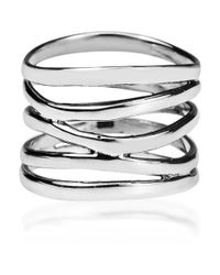 Aeravida | Metallic Trendy Wide Five Band Coil Wrap Sterling Silver Ring | Lyst