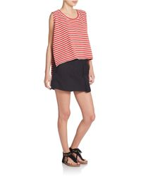Free People - Red Cropped Striped Tank Top - Lyst