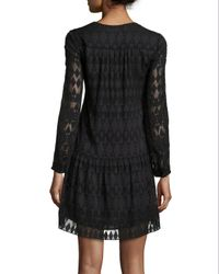 Rebecca Taylor - Black Long-sleeve A-line Lace Dress - Lyst