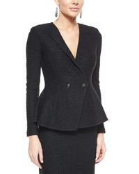 St. John - Black Sparkle Texture Double-breasted Jacket - Lyst