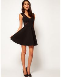 ASOS - Black Skater Dress With Mesh Inserts - Lyst