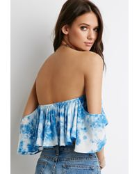 Forever 21 - Blue Tie-dye Off-the-shoulder Top - Lyst