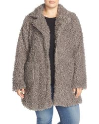 Steve Madden | Gray Faux Fur Coat | Lyst