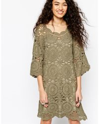 ASOS | Green Hand Crochet Tunic Dress | Lyst