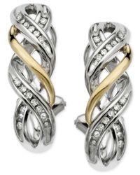 Macy's | Metallic Diamond (1/5 Ct .t.w.) Twist Hoop Earrings In Sterling Silver & 14k Gold Over Sterling Silver | Lyst
