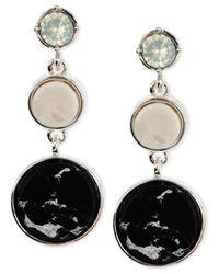Anne Klein   Silver-Tone Black And White Triple Drop Earrings   Lyst