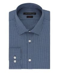 John Varvatos | Blue Slim Fit Micro Check Dress Shirt for Men | Lyst