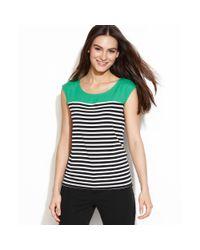 Calvin Klein - Green Capsleeve Striped Top - Lyst
