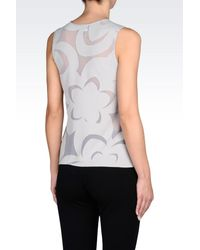 Emporio Armani - Gray Top In Devoré Jersey - Lyst