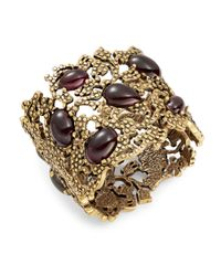 Oscar de la Renta | Purple Cabochon Filigree Cuff Bracelet | Lyst