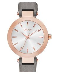 DKNY | Gray 'stanhope' Leather Strap Watch | Lyst