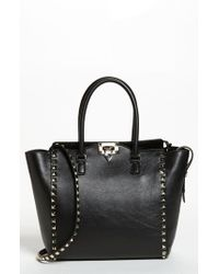 Valentino - Black 'rockstud' Leather Double Handle Tote - Lyst