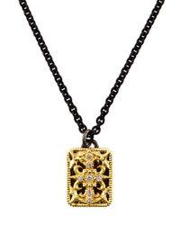 Armenta | Metallic Diamond Square Pendant Necklace | Lyst