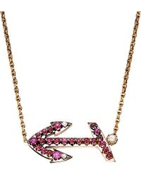 Annina Vogel | Red Bespoke Diamond And Ruby Anchor Necklace - For Women | Lyst