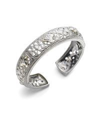 Judith Ripka - Metallic White Sapphire, Sterling Silver & 18K Yellow Gold Bracelet - Lyst