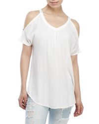 Pink Rose - White Woven Cold Shoulder Top - Lyst