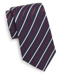 Saint Laurent | Blue Striped Silk Tie for Men | Lyst