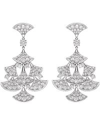 BVLGARI | Metallic Divas' Dream 18kt White-gold And Diamond Earrings | Lyst