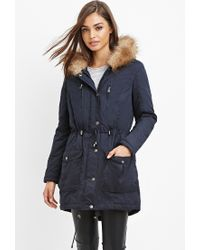Forever 21 | Blue Faux Fur-trim Hooded Parka You've Been Added To The Waitlist | Lyst