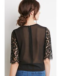 Forever 21 - Black Floral Lace-paneled Top You've Been Added To The Waitlist - Lyst