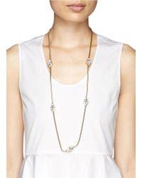 St. John - Metallic Triangle Swarovski Crystal Necklace - Lyst