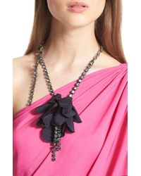 Lanvin | Blue Asymmetrical Flower & Chain Necklace | Lyst