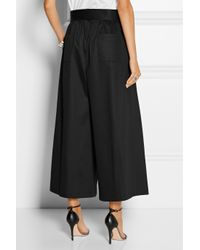 TOME - Black Belted Stretch-Cotton Sateen Culottes - Lyst