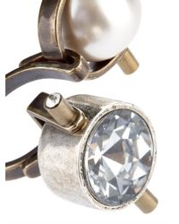 Lanvin | White Crystal And Faux-Pearl Ring | Lyst