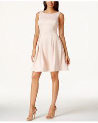 Calvin Klein | Pink Boat-neck Fit & Flare Scuba Dress | Lyst