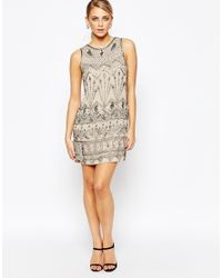 Oasis - Natural Deco Beaded Flapper Dress - Lyst