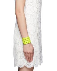 Valentino - Yellow 'rockstud' Wide Leather Bracelet - Lyst