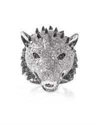 Elise Dray | Metallic Diamond and Whitegold Wolf Ring | Lyst