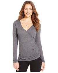 DKNY | Gray Ruched Long-sleeve Top | Lyst