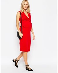 ASOS - Red Maternity Bodycon Dress With Ruching - Lyst