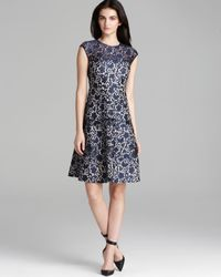 Kay Unger - Blue Fit and Flare Bonded Lace Dress Cap Sleeve - Lyst
