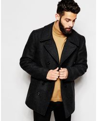 Gloverall | Gray Peacoat In Wool for Men | Lyst