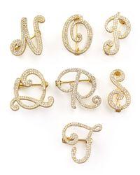 Tai - Metallic Cubic Zirconia Initial Pin Gold - Lyst
