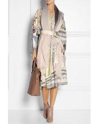 Burberry Prorsum - Gray Printed Linen And Silk-Blend Midi Dress - Lyst