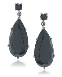 Carolee | Black Flower District Jet Teardrop Earrings | Lyst
