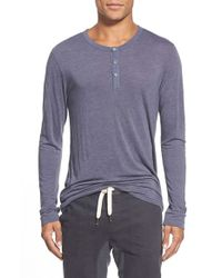 Sol Angeles | Blue Long-Sleeved Jersey Henley Top for Men | Lyst