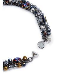 Assad Mounser | Blue Floral Crystal Motif Chain Choker | Lyst