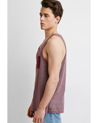 Forever 21 | Purple Micro-striped Pocket Tank for Men | Lyst