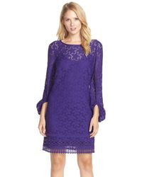 Laundry by Shelli Segal | Purple Stretch Lace Shift Dress | Lyst