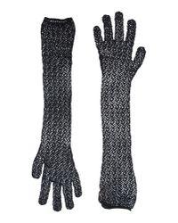 Alaïa - Black Crochet Elbow Length Gloves - Lyst