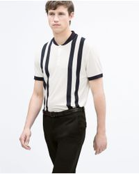 Zara | Blue Striped Button Neck Top With Collar for Men | Lyst