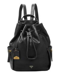 Fossil Black 'vickery - Large' Drawstring Leather Backpack