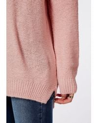 Missguided - Tila Slouch Oversize Knit Sweater Pink - Lyst