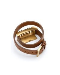 Tory Burch | Brown For Fitbit Fret Double Wrap Bracelet - Bark/Aged Gold | Lyst