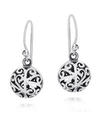 Aeravida | Metallic Stylish 3d Filigree Round Ball Sterling Silver Earrings | Lyst
